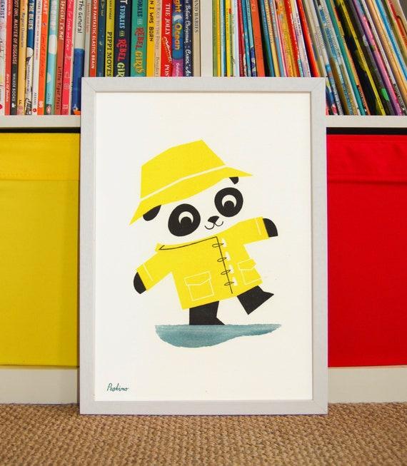 Puddle Panda - A4 RISO print by Peski Studio
