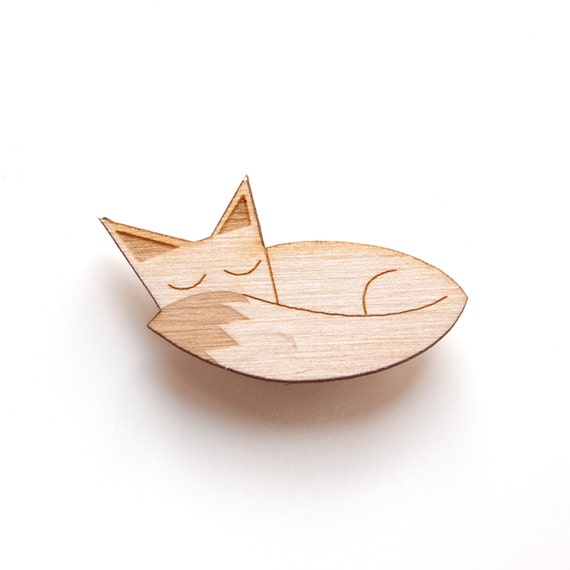 Sleeping Fox - *Seconds* Wooden Badge / Brooch back
