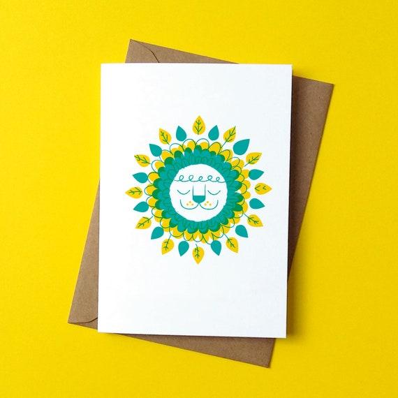 Dudley Lion Greetings Card - by Peski Studio