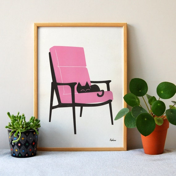 Cat Nap Armchair in Neon Pink- A3 RISO print - by Peski Studio