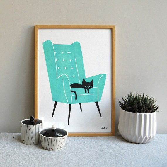 Cat Nap Arm Chair in Green - A3 RISO print by Peski Studio