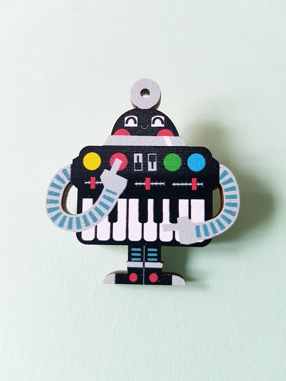 Synthi Robot wood pin badge brooch
