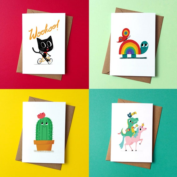 New Cheerful set of Greetings Card - Pack of 4 - by Peskimo