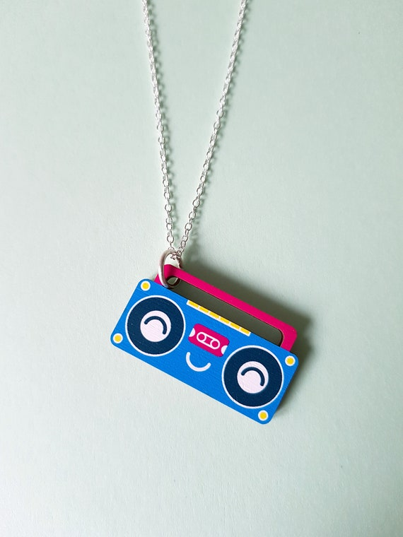 Boombox wood necklace