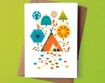 Camping Critters Greetings Card - by Peski Studio