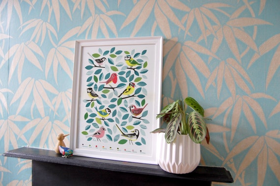 Garden Birds - A3 RISO print by Peski Studio