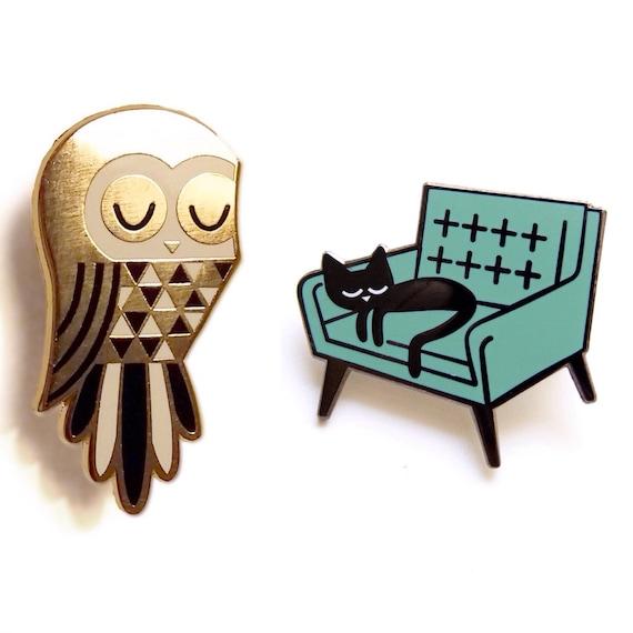 Twit Owl and Cat Nap - Enamel Pin Badges