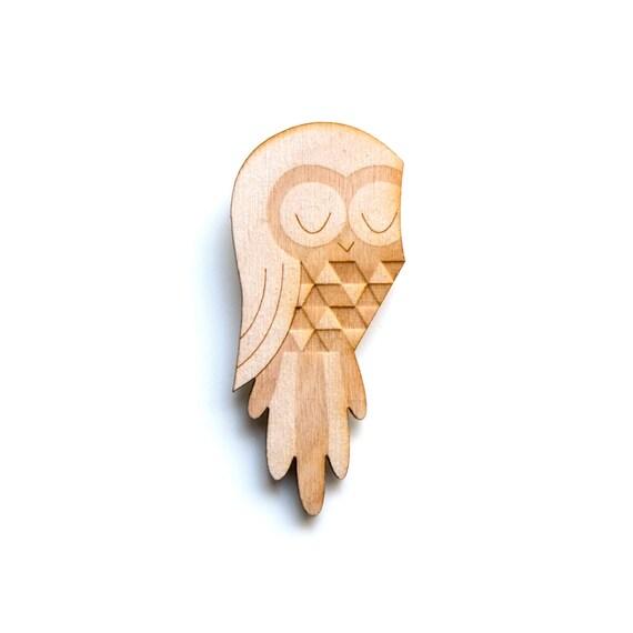 Owl - Wooden Badge / Pin / Brooch