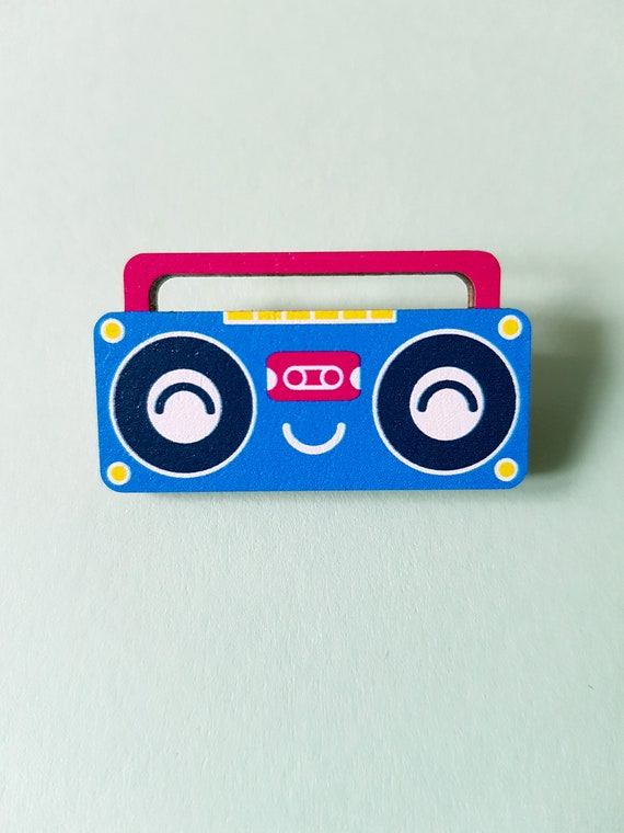 Boombox wood pin badge brooch