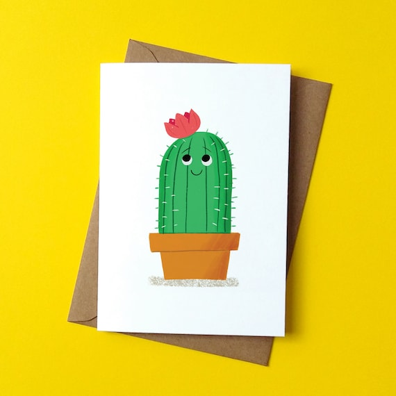 Greetings Card - Cute Cactus - by Peskimo