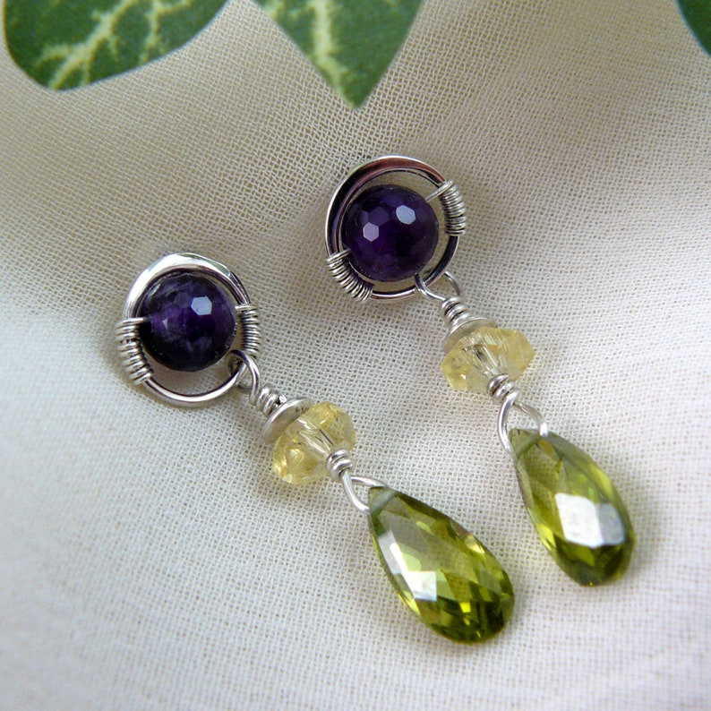 Olivine Cubic Zirconia Post Earrings Amethyst Citrine and Olivine CZ Post and Dangle Earrings Citrine Earrings Amethyst Earrings