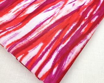 "Hand-dyed Arashi Shibori cotton 1 yard x 13 3/4"" Red, Purple, Art Quilt, home decor, clothing, sewing, drapery cotton by Duchess Froufrou"