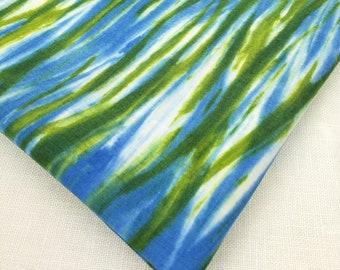 "Hand-dyed Arashi Shibori cotton 1 yard x 13 3/4"" Blue, Green, Art Quilt, home decor, clothing, sewing, quilting by Duchess Froufrou"
