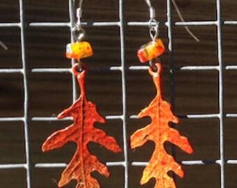 Autumn Oak Leaf Earrings - Fall Leaves, Oak Tree, Red, Yellow, Orange