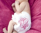 Personalized ENGRAVED MONOGRAM font, Embroidered Frilly Bloomers - CUSTOM