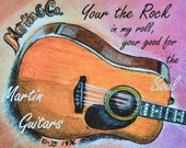 Guitar Art, Guitar Watercolor, Guitar Print, Song Quote, Dawn Hitchcock Art, Martin Guitar,Acoustic Guitar,Dreadnought Guitar,Vintage Guitar