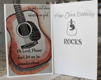 Guitar CardGuitar Birthday CardAcoustic GuitarWatercolor Art Card For HimCard Guy Dreadnought Acoustic Paper Products