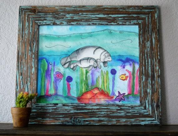 Watercolour Fish Canvas Art PrintFramed Ready to Hang Tropical Wall Prints