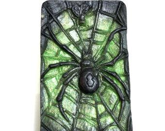 Spider Web Soap, Black Widow, Halloween Soap, Halloween Decor, Creepy Spider, Glitter Bar, Handmade Soap, Vegan Soap, Custom Scent and Color