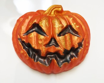 Pumpkin Soap, Halloween Soap, Guest Bar, Halloween Decor, Glitter Soap, Trick or Treat, Novelty Soap, Vegan Soap, Jack O Lantern Soap