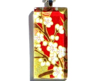 red and gold necklace pendant - glass and Japanese chiyogami - ruby radience dogtag