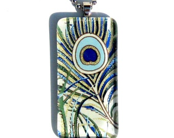 peacock feather pendant necklace - glass and Japanese chiyogami