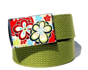Obi Belt Buckle - Flower Power (Buckle Only) Vegan Friendly Belts