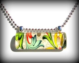 Italian Florentine Glass Pendant. Looking Glass. Bar Pendant Necklace: Tuscan Sun