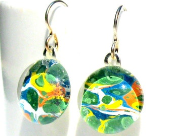 ocean reef geisha gem danglies - glass and Japanese chiyogami earrings with eco friendly Argentium sterling silver