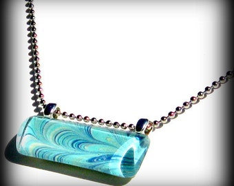 Peacock Pendant. Aqua Blue Necklace. Glass Bar Pendant Necklace : Peacock Tails