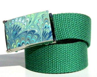 Obi Buckle - Peacock Marble Vegan Belt Buckle (Buckle Only) Vegan Friendly Belts