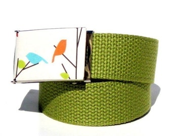 Obi Belt Buckle - love birds (Buckle Only) Vegan Friendly Belts