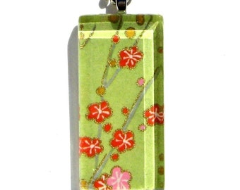celery green cherry blossom pendant necklace - glass and Japanese chiyogami - confetti blooms