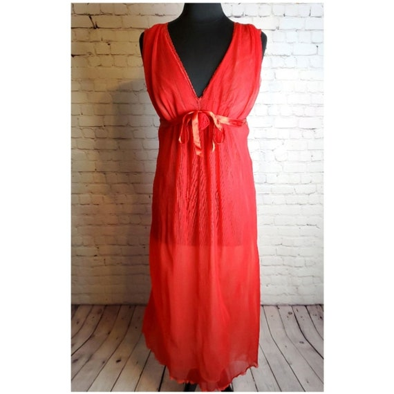 Vintage Pleated Double Chiffon Red Nightgown
