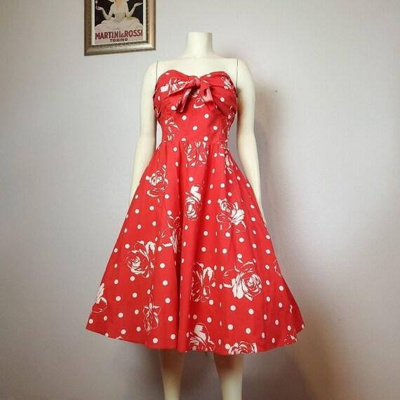 Vintage 80s does 50s Red Full Skirt Dress