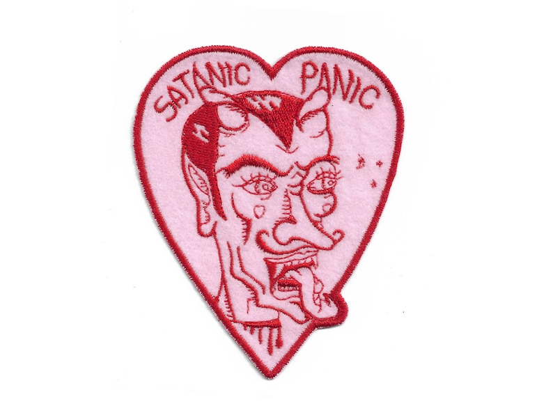Satanic Panic Embroidered Iron-On Patch in Pink and Red image 0