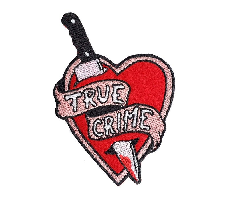 True Crime Embroidered Iron-On Patch Pink OR Gray Banner image 0
