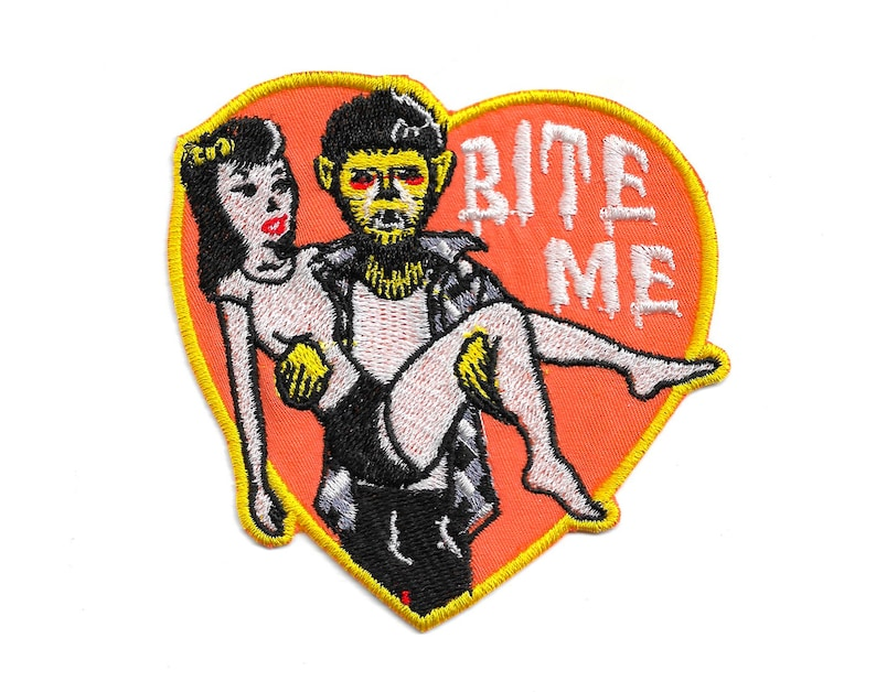 Bite Me Embroidered Iron-On Patch image 0