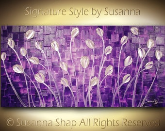 ORIGINAL Large Abstract Purple White Tulips Landscape Modern Thick Impasto Texture Palette Knife Painting by Susanna 48x24