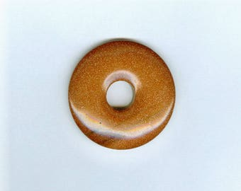 Goldstone Donut Focal, 40mm Brown Goldstone Glass PI Donut Focal Pendant Bead 11106