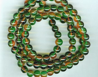 8mm Green and Orange Two Color Glass Spacer Round Beads 31 inch Glass Bead