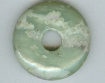 32mm Green Peace Jasper Gemstone PI Donut Pendant Doughnut 11209