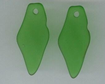 Green Shard Pendant, Set 2 Spring Green Free Form Shard 37x17mm Sea Glass Pendant Seaglass Bead