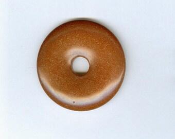 Goldstone Focal Donut, 40mm Brown Goldstone Glass PI Donut Focal Pendant 595