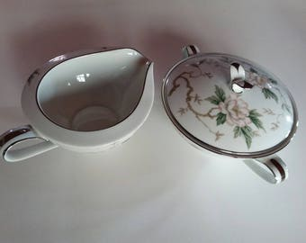 Noritake Creamer And Sugar Bowl With Lid Vintage Mid Century Free Ship