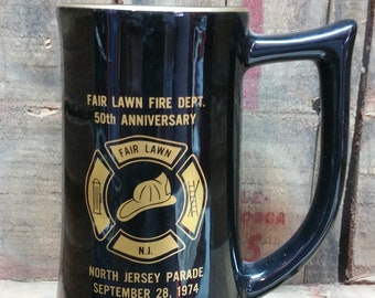 New Jersey Fair Lawn Fire Dept. 50th Anniversary Mug 1974 Free Shipping