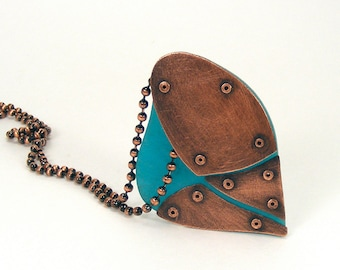 Oxidized Copper and Turquoise Resin Riveted Heart Pendant Necklace - Captivate