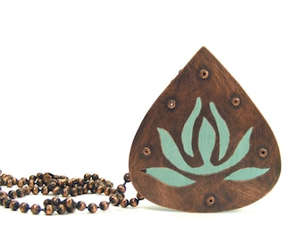 Oxidized Copper and Aqua Resin Lotus Inspired Riveted Pendant Necklace - Transcendent