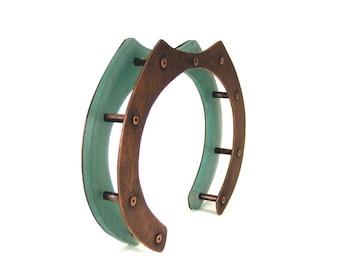 Oxidized Copper and Aqua Resin Architectural Riveted Cuff Bracelet - Tranquil