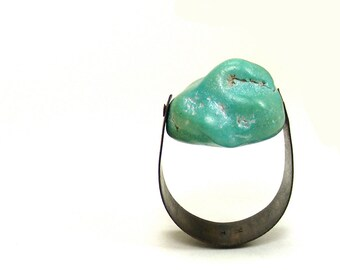 Oxidized Copper and  Turquoise Riveted Ring - Conjecture